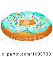 Clipart Donut With Blue Frosting And Colorful Sprinkles Royalty Free Illustration