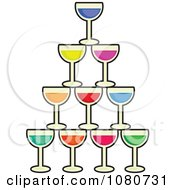 Clipart Stacked Cocktail Glasses Royalty Free Vector Illustration by Prawny