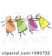 Clipart Blind Stick People Leading Each Other Royalty Free Vector Illustration