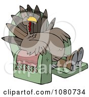 Clipart Tired Thanksgiving Turkey Lounging In A Recliner Chair Royalty Free Vector Illustration
