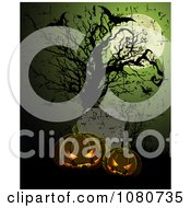 Clipart Glowing Evil Halloween Pumpkins In A Cemetery With Bats And Bare Tree Under A Full Moon Royalty Free Vector Illustration