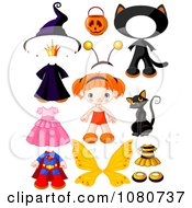 Clipart Cute Red Haired Doll With Halloween Costumes And Accessories Royalty Free Vector Illustration