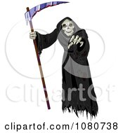 Clipart Creepy Grim Reaper Holding A Scythe And Reaching Out Royalty Free Vector Illustration