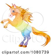 Clipart Rearing Colorful Unicorn With Sparkly Hair Royalty Free Vector Illustration by Pushkin