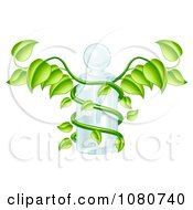 3d Caduceus Medical Bottle With A Green Vine