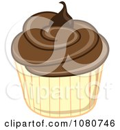 Clipart Chocolate Frosted Cupcake With A Yellow Wrapper Royalty Free Illustration by Pams Clipart