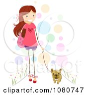 Cute Stick Girl Walking Her French Bulldog