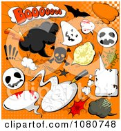Clipart Set Of Grungy Halloween Comic Design Elements Over Orange Royalty Free Vector Illustration