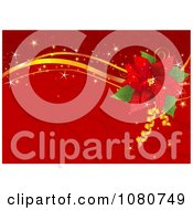 Clipart Red Poinsettia And Gold Ribbon Background With Swirls And Sparkles Royalty Free Vector Illustration by Pushkin
