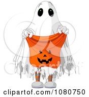 Clipart Halloween Trick Or Treater In A Ghost Costume Holding Out A Candy Bag Royalty Free Vector Illustration