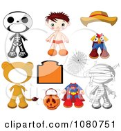 Clipart Boy Halloween Doll With Different Costumes Royalty Free Vector Illustration by Pushkin