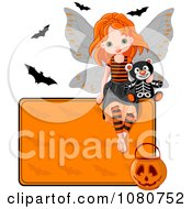 Clipart Halloween Fairy With A Skeleton Teddy Bear Bats And Sign Royalty Free Vector Illustration