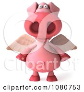 Clipart 3d Winged Pookie Pig Facing Front Royalty Free Illustration