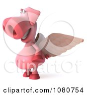 Clipart 3d Winged Pookie Pig Facing Left Royalty Free Illustration