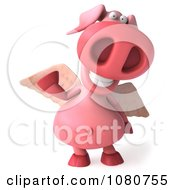 Clipart 3d Winged Pookie Pig Waving Royalty Free Illustration