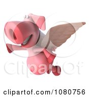 Clipart 3d Winged Pookie Pig Flying Left Royalty Free Illustration