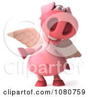 Clipart 3d Winged Pookie Pig Pointing Royalty Free Illustration