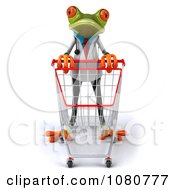 Clipart 3d Doctor Springer Frog Pushing A Cart 1 Royalty Free Illustration by Julos