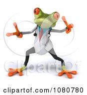 Clipart 3d Doctor Springer Frog Dancing 2 Royalty Free Illustration