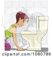Clipart Sick Drunk Bulimic Or Pregnant Woman Throwing Up In A Toilet Royalty Free Vector Illustration by David Rey