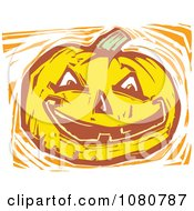 Clipart Woodcut Styled Jackolantern Halloween Pumpkin Royalty Free Vector Illustration