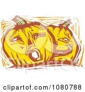 Woodcut Styled Jackolantern Halloween Pumpkins