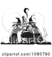 Clipart Black And White Woodcut Witches Chanting Over A Cauldron Royalty Free Vector Illustration