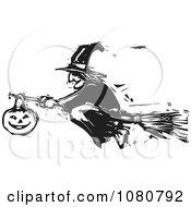 Black And White Woodcut Halloween Witch Flying On A Broomstick