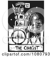 Clipart Black And White Woodcut Styled Tarot Chariot Card Royalty Free Vector Illustration