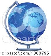 Clipart Blue Desk Globe Royalty Free Vector Illustration