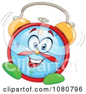 Clipart Happy Alarm Clock Ringing And Vibrating Royalty Free Vector Illustration