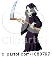 Clipart Laughing Grim Reaper Holding A Scythe Royalty Free Vector Illustration