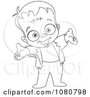 Happy Outlined Little Frankenstein Holding His Arms Out