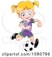 Clipart Happy Soccer Girl Kicking A Ball Royalty Free Vector Illustration