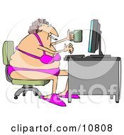 White Woman In Her Bra And Underwear Hair In Curlers Smoking A Cigarette Holding A Coffee Mug And Typing On A Computer At A Desk