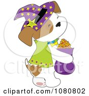 Clipart Cute Puppy Trick Or Treating As A Halloween Witch Royalty Free Vector Illustration by Maria Bell