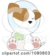 Clipart Cute Injured Puppy Sitting With A Paw In A Sling And A Cone Around His Neck Royalty Free Vector Illustration
