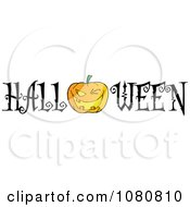 Clipart The Word Halloween With A Jackolantern As The O Royalty Free Vector Illustration by Hit Toon