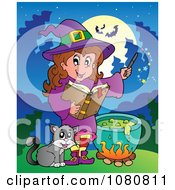 Clipart Cat By A Halloween Witch Making A Potion Royalty Free Vector Illustration
