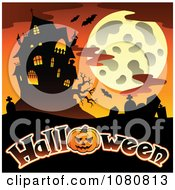 Clipart Haunted House Full Moon And Cemetery Over Halloween Text Royalty Free Vector Illustration
