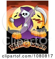 Clipart Grim Reaper With Pumpkins Over Halloween Text Royalty Free Vector Illustration