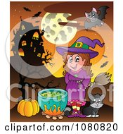 Clipart Halloween Witch And Cat By A Cauldron And Haunted House Royalty Free Vector Illustration