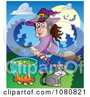 Clipart Halloween Witch Flying Over A Cat And Potion Cauldron Royalty Free Vector Illustration