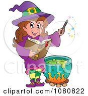 Clipart Halloween Witch In Purple Making A Potion Royalty Free Vector Illustration by visekart