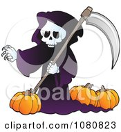 Clipart Grim Reaper With Pumpkins Royalty Free Vector Illustration by visekart