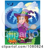Clipart Halloween Witch And Cat By A Potion Cauldron Royalty Free Vector Illustration
