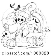 Clipart Outlined Grim Reaper And Ghosts With Halloween Pumpkins Royalty Free Vector Illustration by visekart