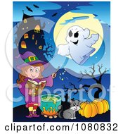 Clipart Halloween Witch In Purple Making A Potion By A Haunted House Royalty Free Vector Illustration