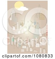 Clipart Cityscape Over Tan Royalty Free Vector Illustration by mheld