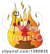 Clipart Little Red Devil Smoking A Cigar In Front Of Flames Royalty Free Vector Illustration by Hit Toon